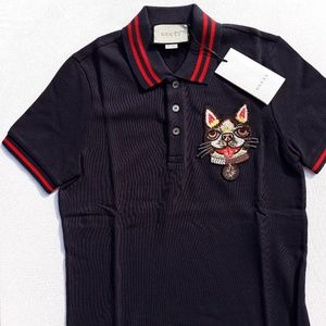 GUCCI BREAST EMBROIDERED CAT NEW MEN'S SHIRT
